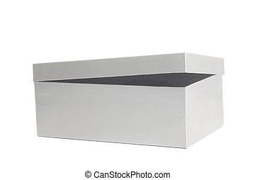 Blank grey open box container isolated on white background
