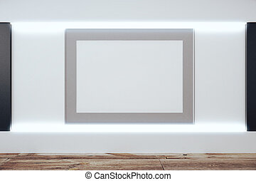 Blank grey picture frame on white wall in empty room with wooden floor, mock up, 3D Render