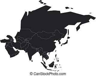 Blank grey political map of Asia. Vector illustration