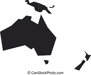 Blank grey political map of Australia and Oceania. Vector illustration