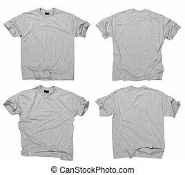 Blank grey t-shirts - Photograph of two wrinkled blank grey...