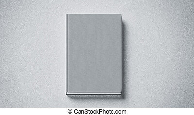 Blank grey tissular hard cover book mock up, front side view...