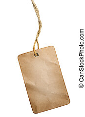 Blank grungy wrinkled tag hanging over white background