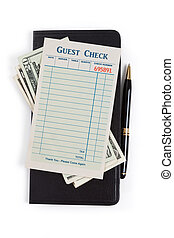 Blank Guest Check and dollar