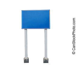 Blank guide post or Traffic sign isolated on white background.