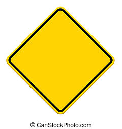 blank, gul vej, tegn, på hvide, baggrund
