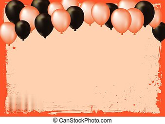 Blank Halloween banner background with air balloons