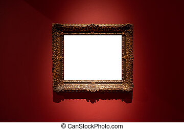 Blank hanging individual frame in an art gallery red background