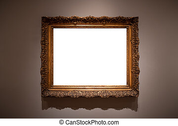 Blank hanging individual frame in an art gallery white background