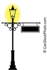 Blank Hanging Lamp Post Sign - A lit gaslight with a blank...