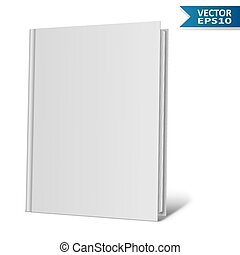 Blank hardcover book isolated on white background.