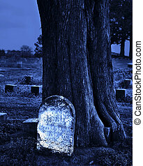 Blank headstone against tree in cemetery at twilight.
