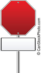Blank hexagon red traffic sign