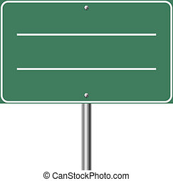 Blank highway green sign isolated on white background.