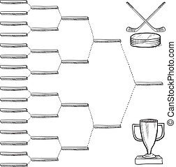 Blank professional hockey playoff bracket - vector file with doodle style