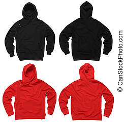 Photograph of two blank hoodie sweatshirts, red and black, front and back. Clipping paths included. Ready for your design or artwork.
