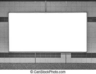 Blank Horizontal big poster in subway station , black and white tone