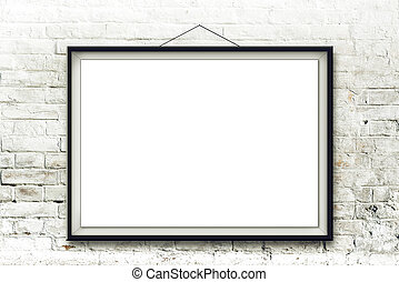 Blank horizontal painting in black frame hanging on white brick wall. Picture proportions match international paper size A.