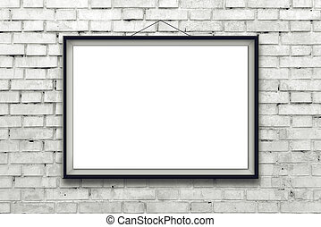 Blank horizontal painting poster in black frame hanging on...