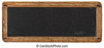 Blank horizontal rustic chalkboard mockup sign isolated