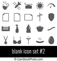 Blank. Icon set 2. Gray icons on white background.