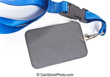 Blank ID card tag with blue ribbon on white