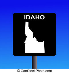 Idaho highway sign - Blank Idaho highway sign on blue...