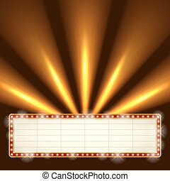 Blank illuminated marquee frame with bright searchlights in the background. Show performance information board vector template.