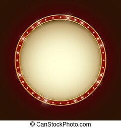 Blank illuminated round marquee frame.