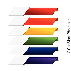 Blank Infographics colorful rainbow paper stripe banners on white background 003