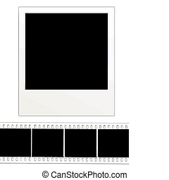 Blank instant photo and film strip  isolated on a white