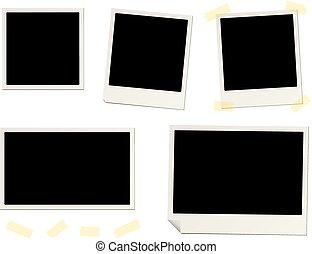 blank instant photo frames and sticky tape
