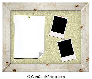 blank instant photos and notes on cork board