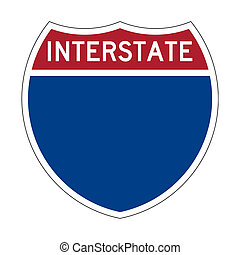 Blank Interstate Highway sign - Blank or empty American...
