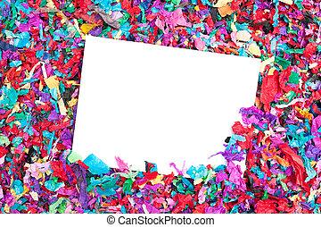 Blank invitation on confetti
