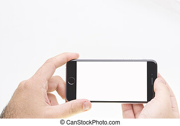 Blank iphone 6 - Hands with blank iphone 6