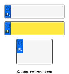 Blank Irish Licence Plates - Blank Southern Ireland vehicle...