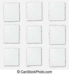 Blank irregular stamps frames