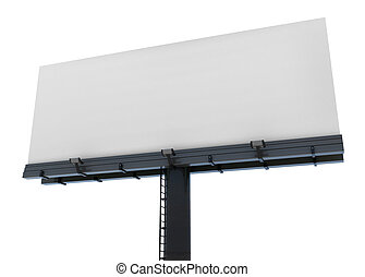 Blank isolated billboard - 3d blank billboard ready to fill