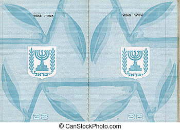 Blank Israeli Passport - Blank pages 22-23 of an Israeli...