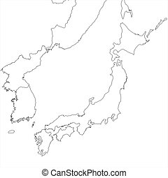 Blank Japan regional map in orthographic projection.
