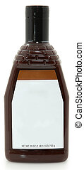 Blank Label New bottle of bbq barbecue sauce over white background. 28oz bottle.