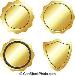 Blank label gold color set vector illustration