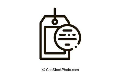 Blank Label Icon Animation. black Blank Label animated icon on white background