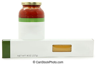 Blank Label Jar and Box of Speghetti Sauce and Noodles