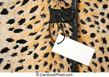 Blank label on leopard clothing