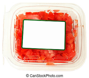 Blank Label Plastic Container of Diced Tomatoes