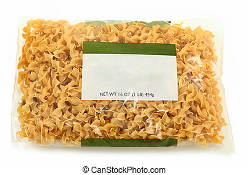 Blank Label Wide Egg Noodle Package over white background.