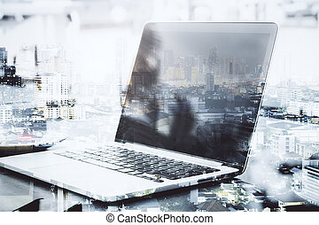 Blank laptop computer multiexpsure
