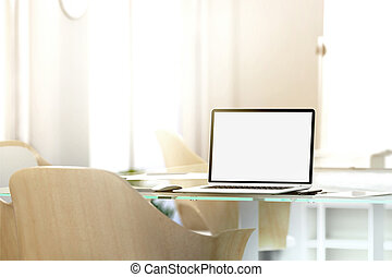 Blank laptop screen mockup in office, depth of field effect,...